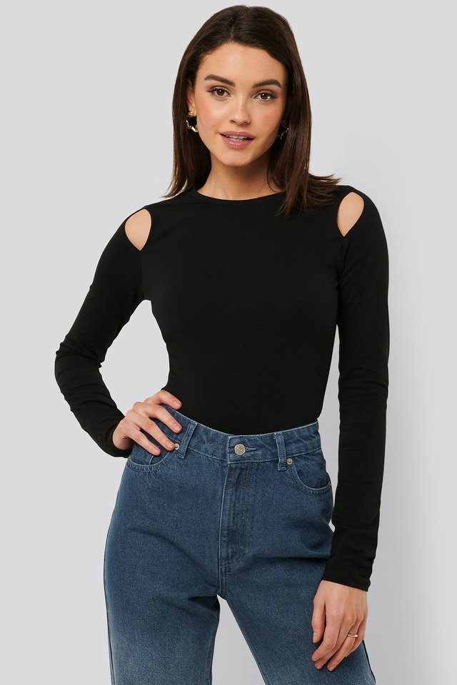 Cut Out Round Neck Top Black