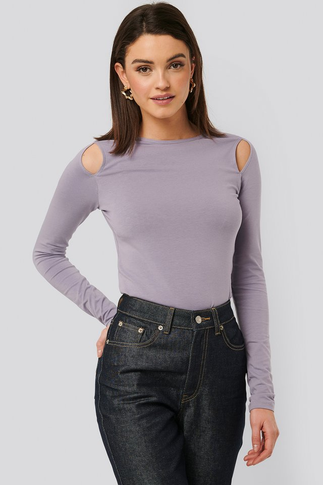 Cut Out Round Neck Top Lilac