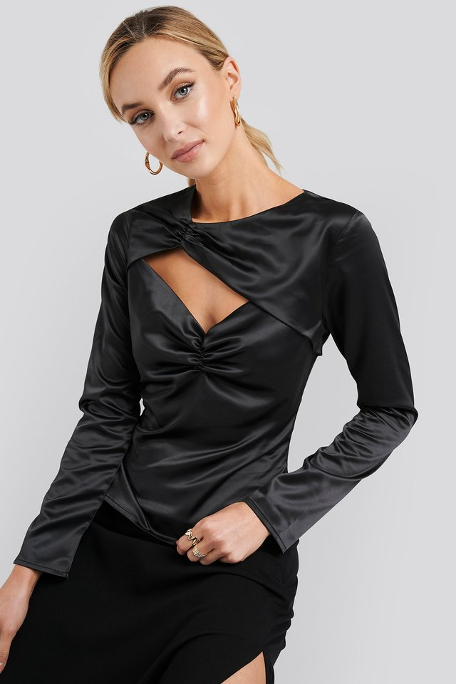 Cut Out Satin Long Sleeve Top Black