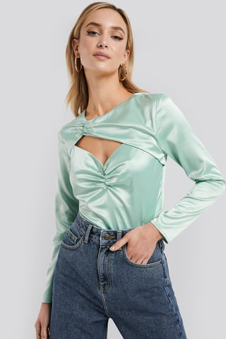 Green Cut Out Satin Long Sleeve Top