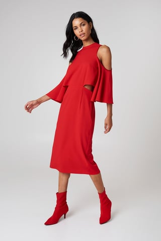 Red Cut Out Tied Neck Dress