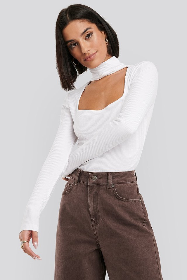 Cut Out Turtle Neck Bodysuit White