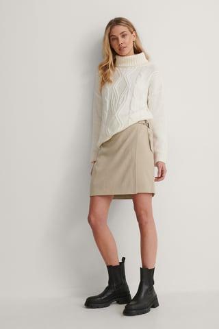 Beige D-ring Overlap Mini Skirt
