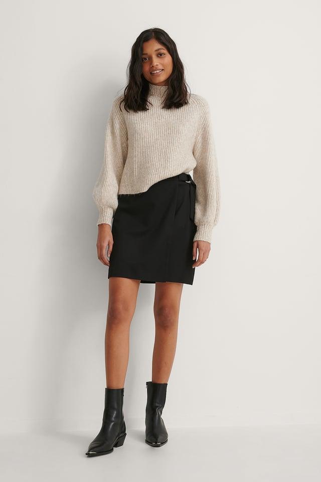 Black D-ring Overlap Mini Skirt