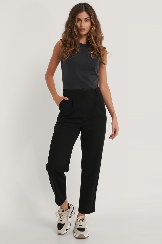 Darted Knee Suit Pants Black