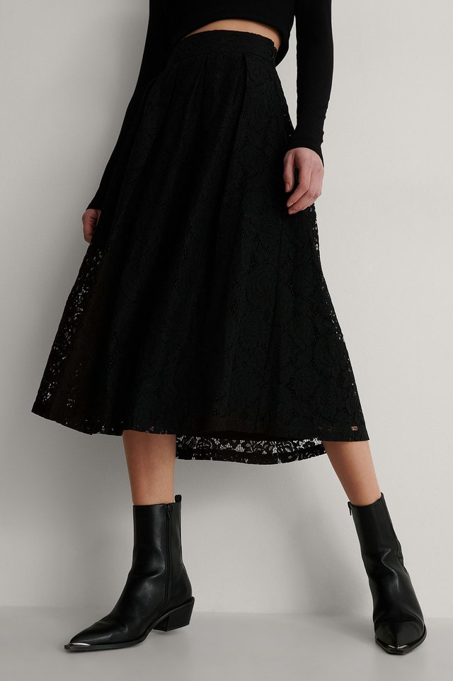 Black Darted Lace Midi Skirt