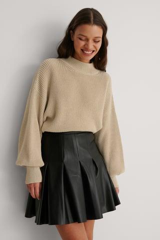 Black Darted PU Mini Skirt