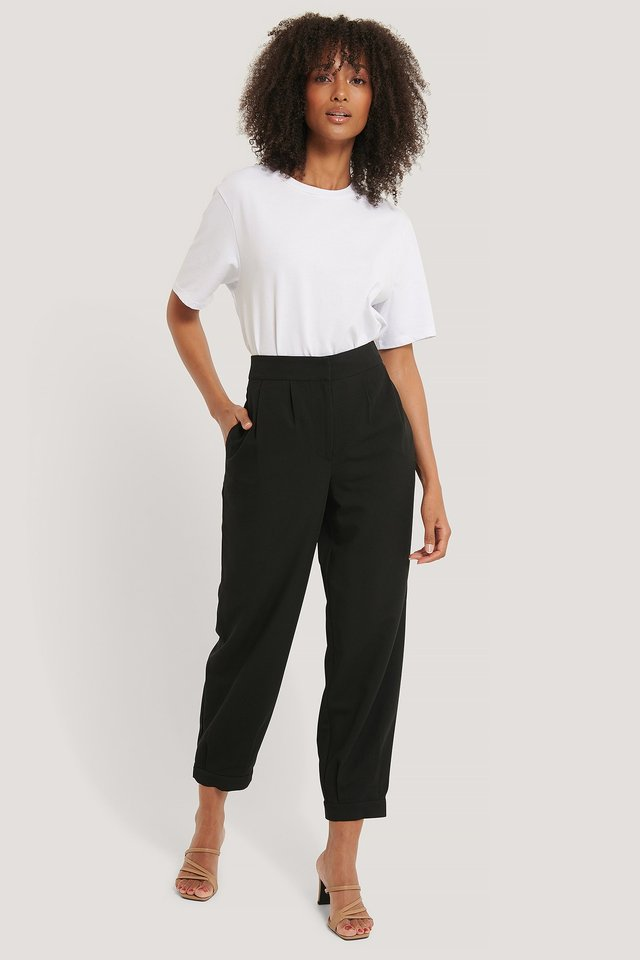 Black Darted Suit Pants