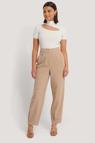 Beige Darted Suit Pants