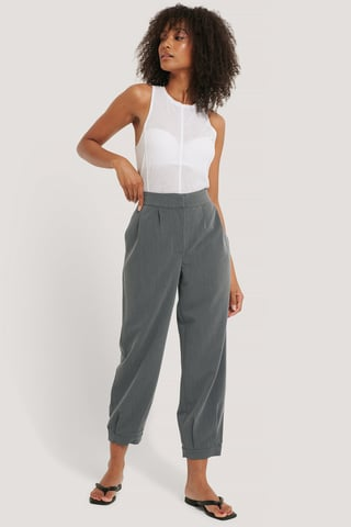 Grey Darted Suit Pants