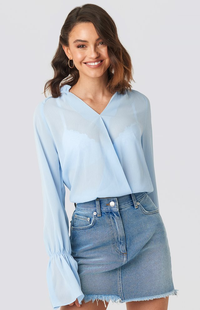 Deep V-Neck Flare Cuff Blouse Light Blue