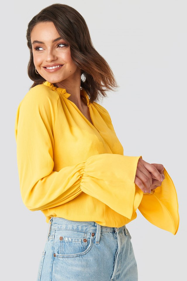 Deep V-Neck Flare Cuff Blouse Citrus