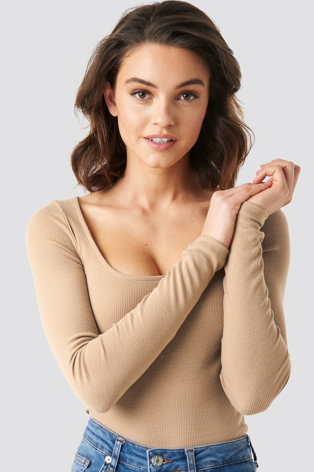 Deep Round Neck Ribbed Top Light Beige