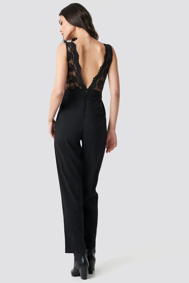Deep Back Lace Detail Jumpsuit Black