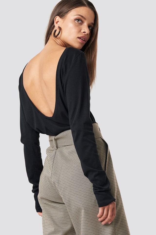 Deep Back Long Sleeve Top Black
