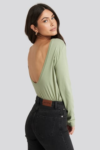 Light Khaki Deep Back Long Sleeve Top