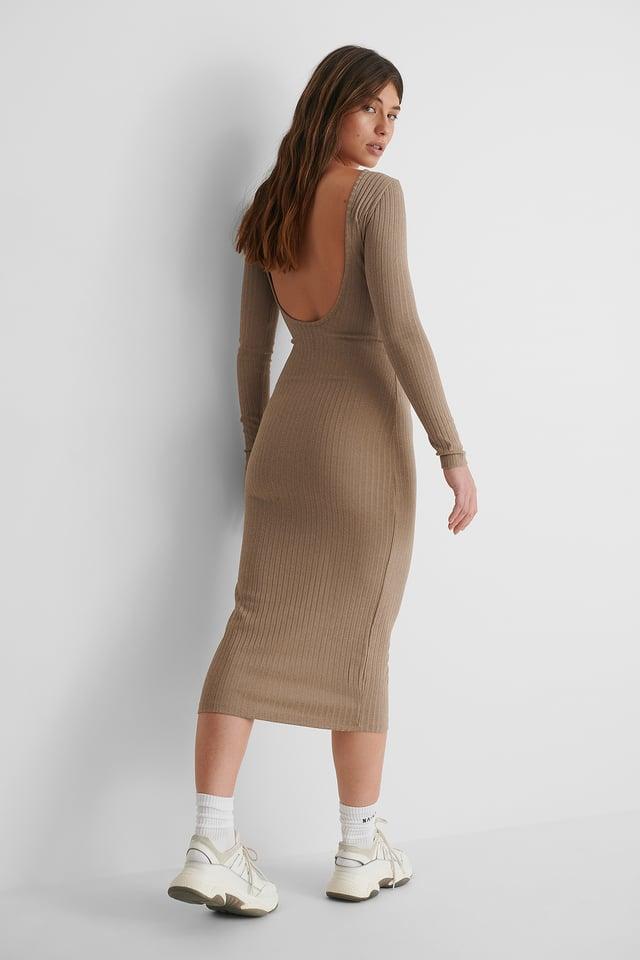 Brown Deep Back Rib Midi Dress