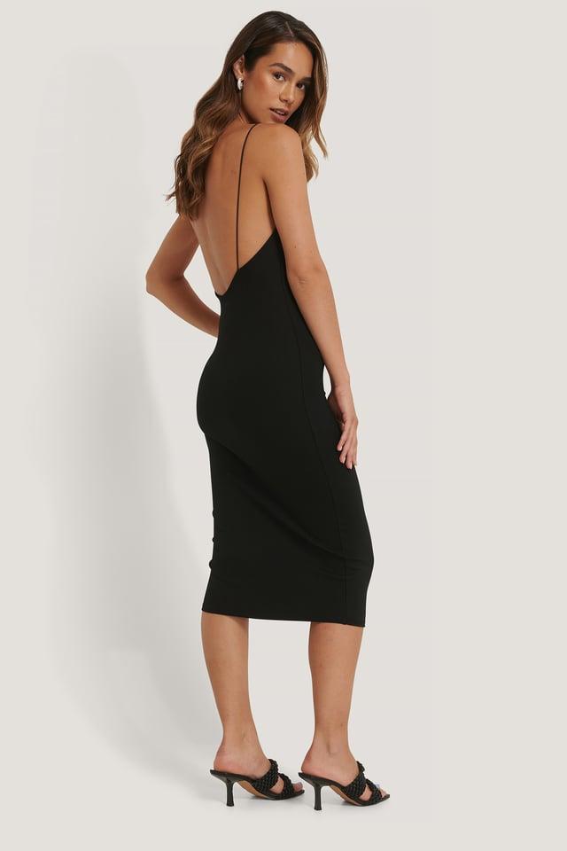 Deep Back Spaghetti Strap Dress Black