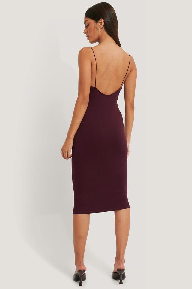Deep Back Spaghetti Strap Dress Bordeaux