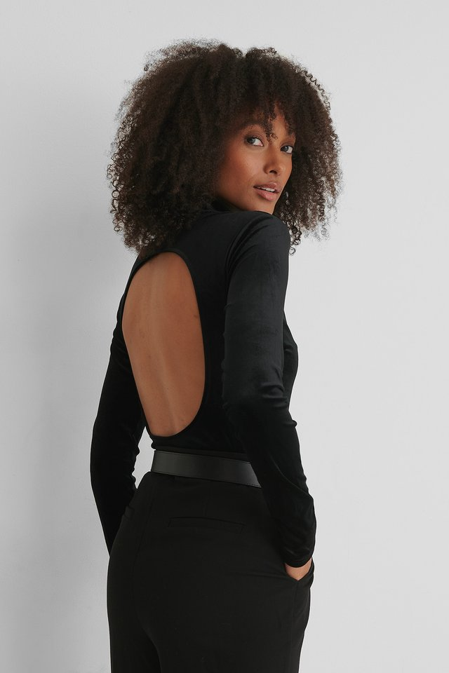 Black Deep Back Velvet Top