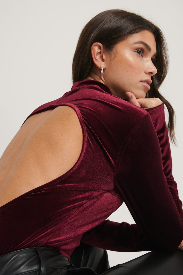 Bordeaux Deep Back Velvet Top