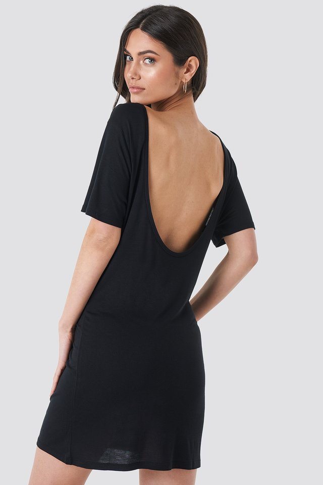 Deep Back Viscose Dress Black