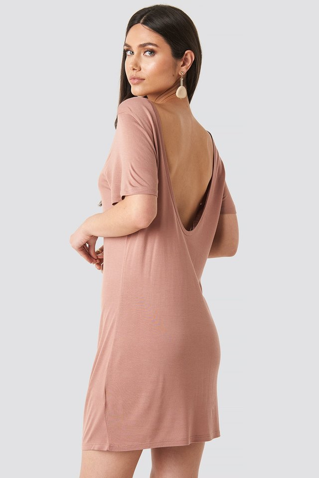 Deep Back Viscose Dress Dusty Dark Pink