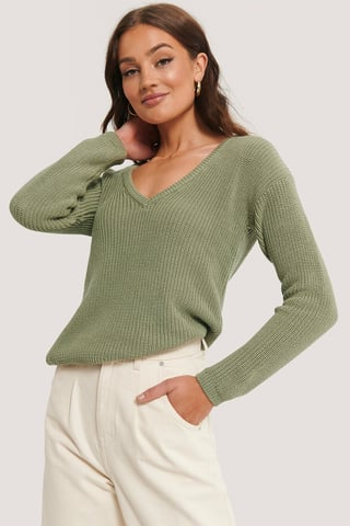 Light Khaki Deep Front V-neck Knitted Sweater