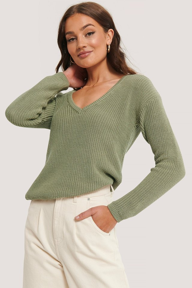 Light Khaki Deep Front V-neck Knitted Sweater