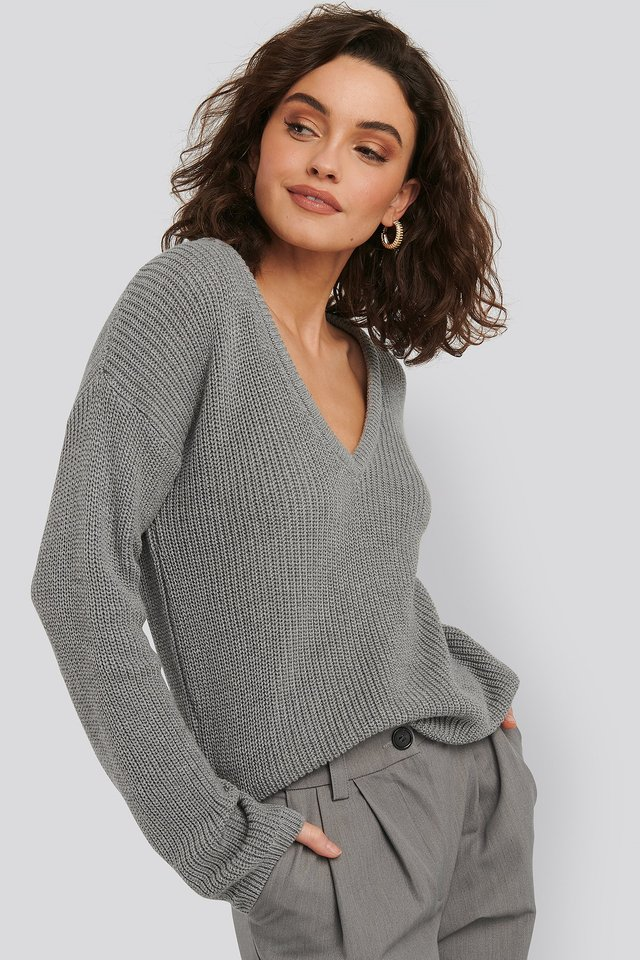 Grey Deep Front V-neck Knitted Sweater