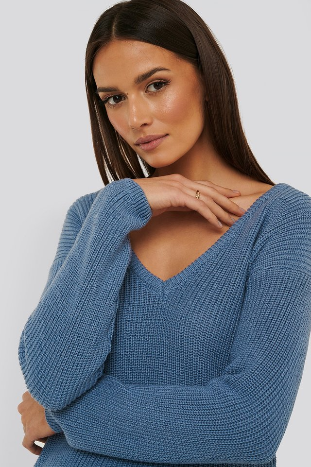 Stone Blue Deep Front V-neck Knitted Sweater