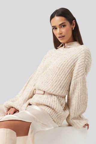 Beige Deep Neck Melange Sweater