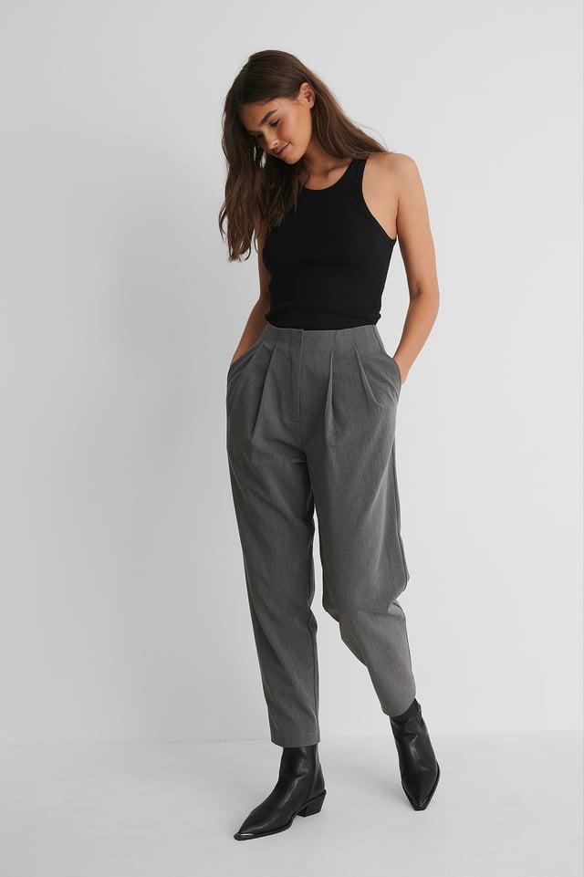 Dark Grey Deep Pleat Cropped Pants