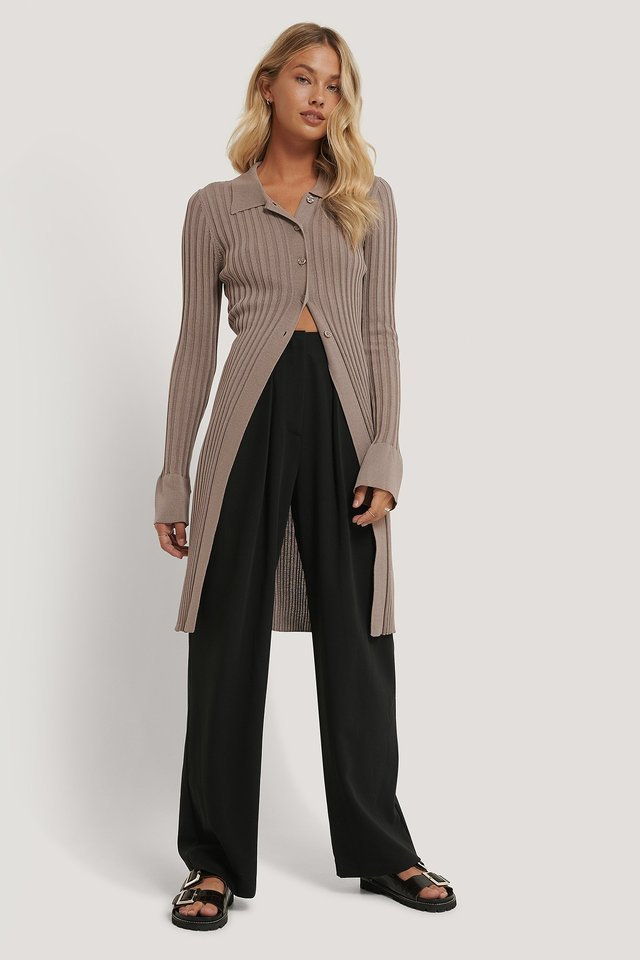 Deep Pleat Suit Pants Black