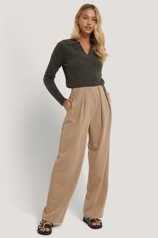 Beige Deep Pleat Suit Pants