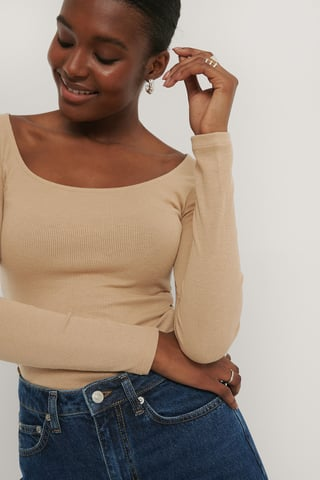 Light Beige Deep Round Neck Ribbed Top