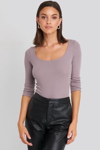 Dusty Purple Deep Round Neck Ribbed Body