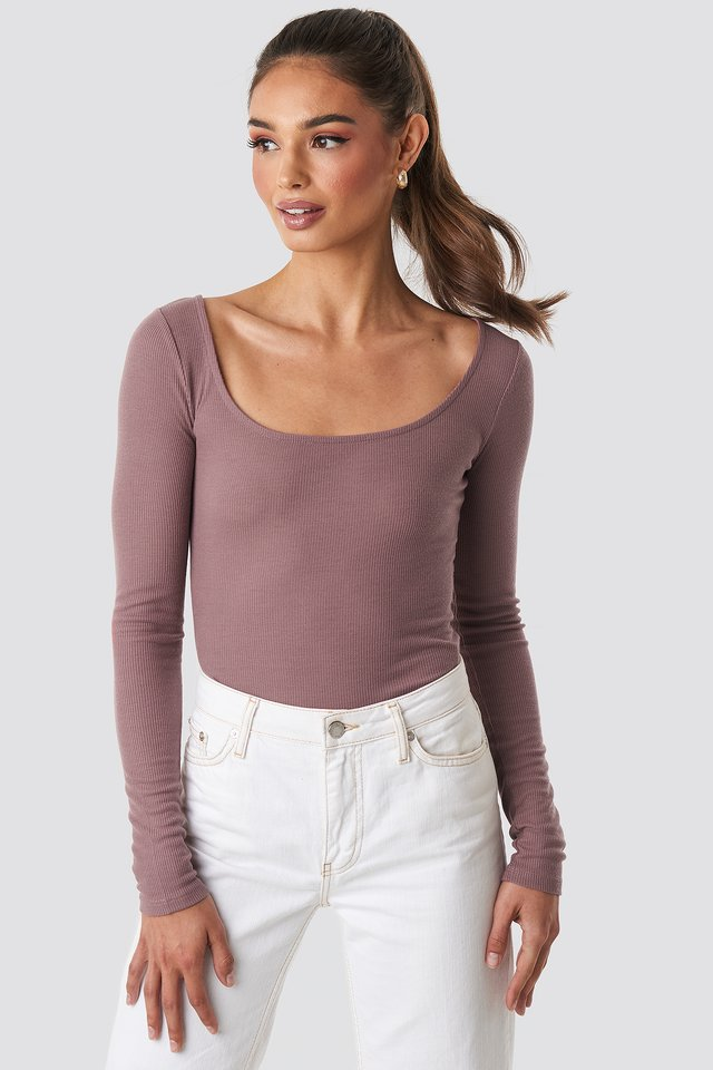 Deep Round Neck Ribbed Top Dusty Dark Pink