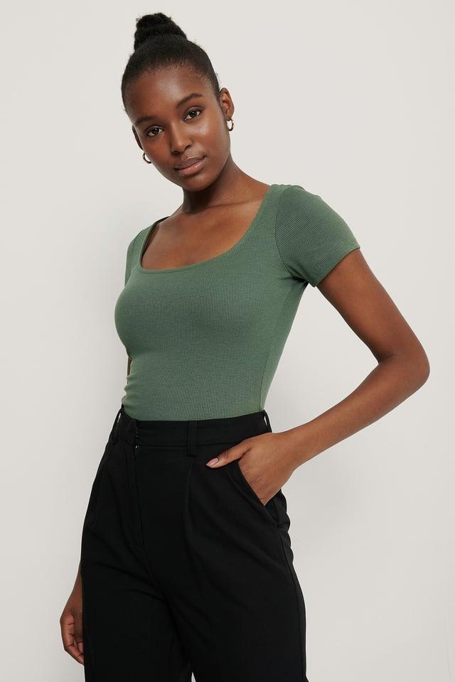 Deep Roundneck Short Sleeve Ribbed Top Dark Green