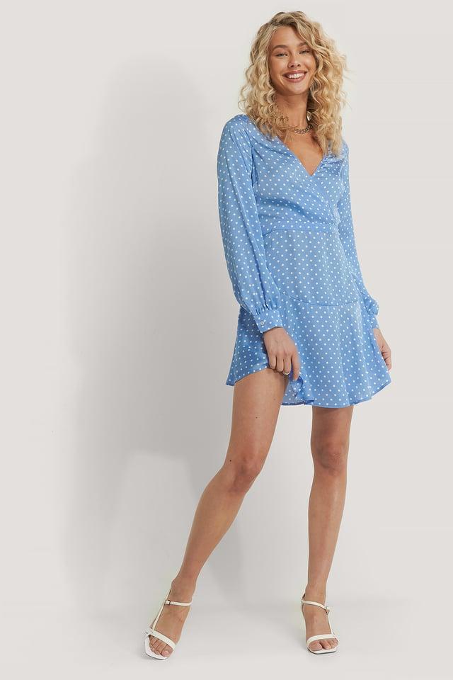 Deep V-Neck Dress Pastel Blue