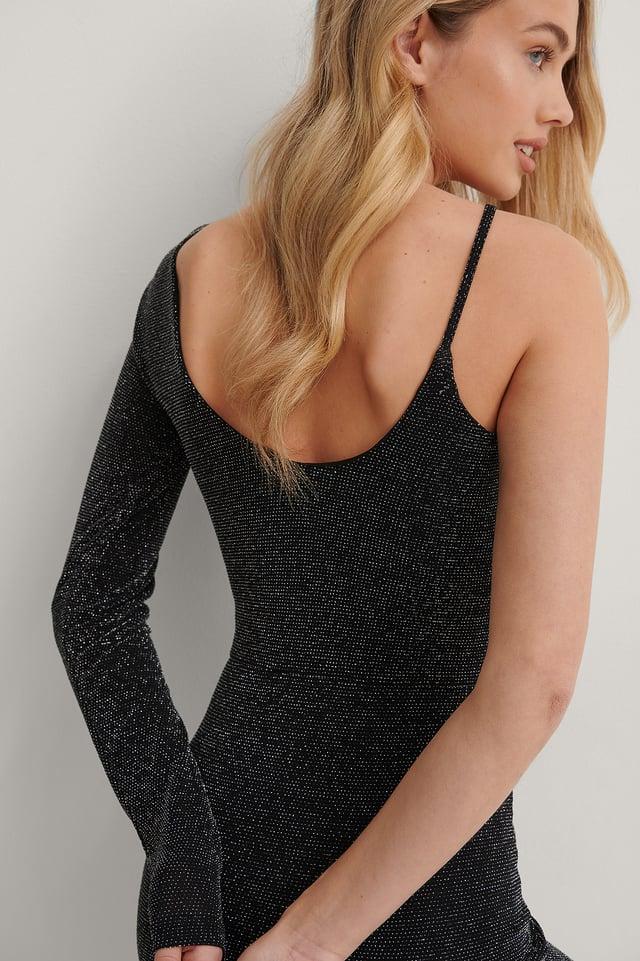 Black Deep V-Neck Dress