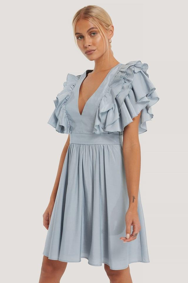 Deep V-neck Ruffle Dress Dusty Blue