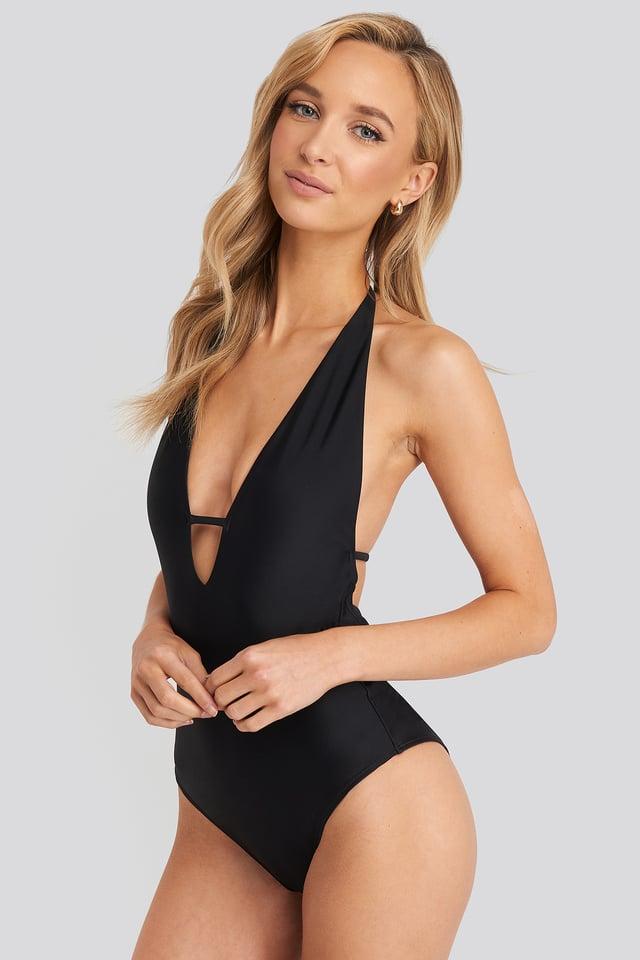 Deep V-cut Swimsuit Black