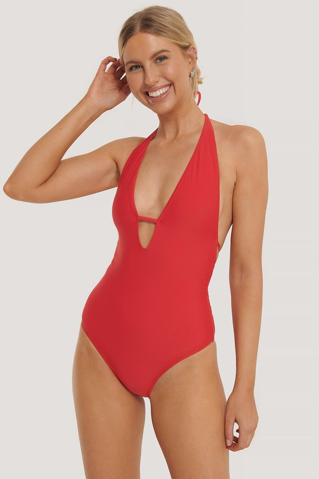 Deep V-Cut Swimsuit Red