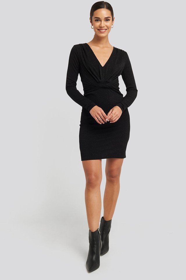 Deep V Knot Glittery Dress Black
