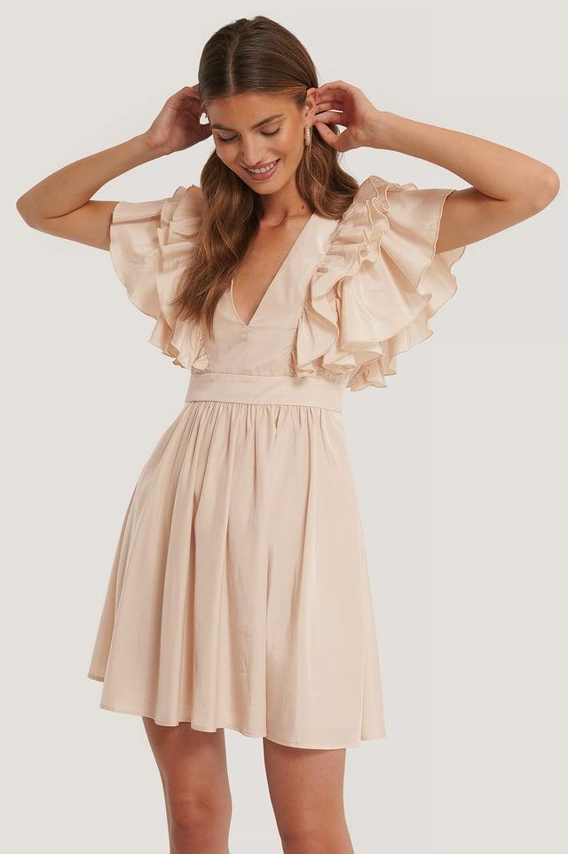 Deep V-neck Ruffle Dress Cream