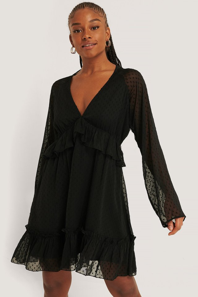Deep V-neck Dobby Dress Black
