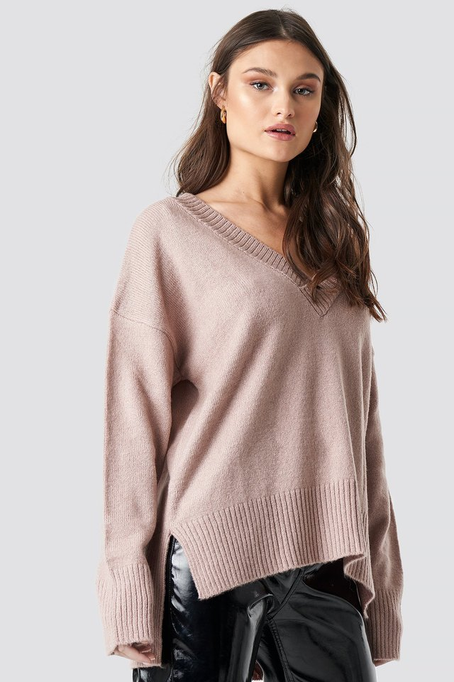 Deep V-neck Oversized Sweater Dusty Pink