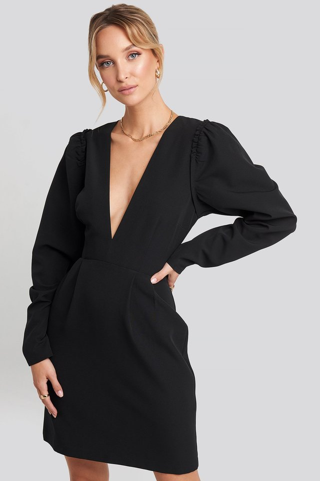 Deep V-Neck Puff Long Sleeve Mini Dress Black