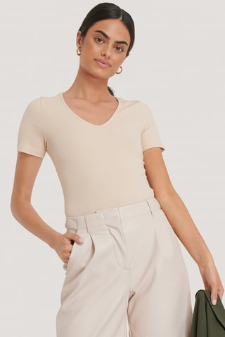 Dusty Light Beige Deep V Neck Ribbed Top